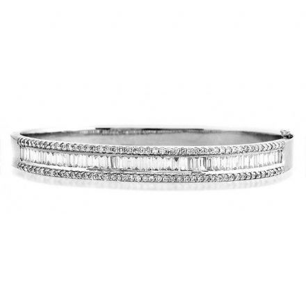 18K White Gold 2.62ct H/si Diamond Bangle, K1016